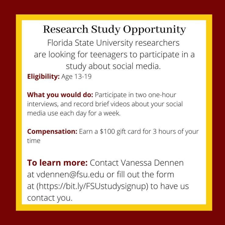 Research Study Opportunity Florida State University Researchers are looking for-2